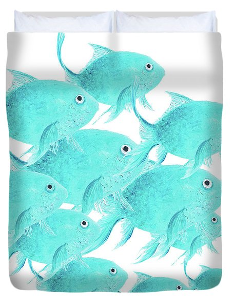 School Of Fish Duvet Cover by Jan Matson