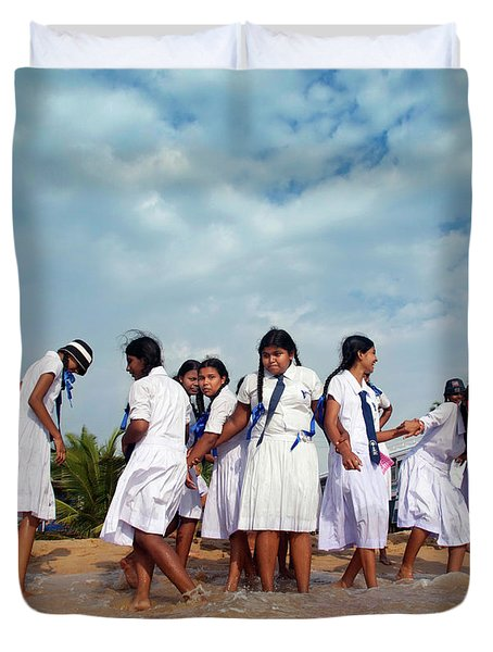 School Trip To Beach II Duvet Cover by Rafa Rivas