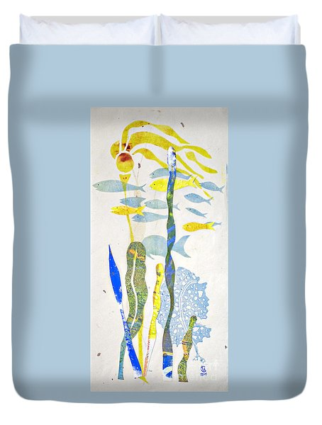 Duvet Cover featuring the mixed media Schooling by Cynthia Lagoudakis