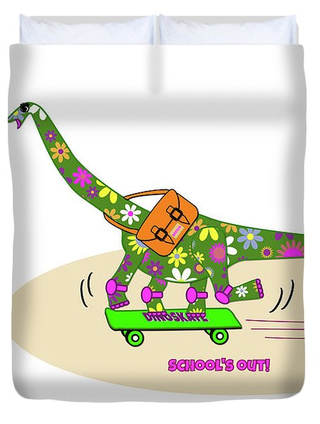 Schools Out For Dinosaurs Duvet Cover