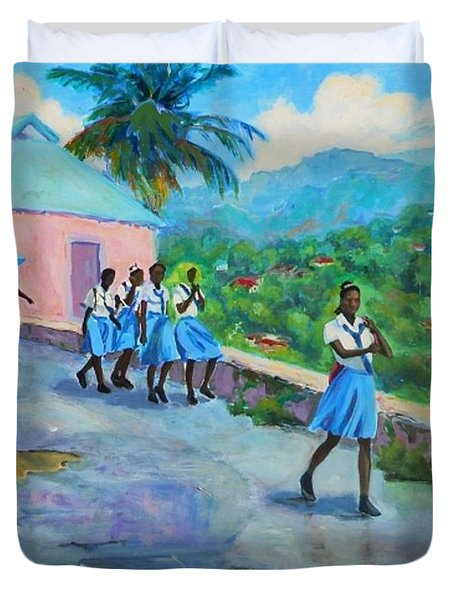 School's Out In Jamaica Duvet Cover by Margaret  Plumb