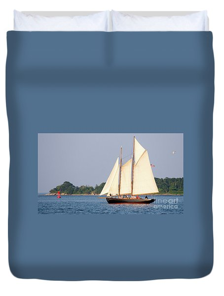 Duvet Cover featuring the photograph Schooner Cruise, Casco Bay, South Portland, Maine  -86696 by John Bald