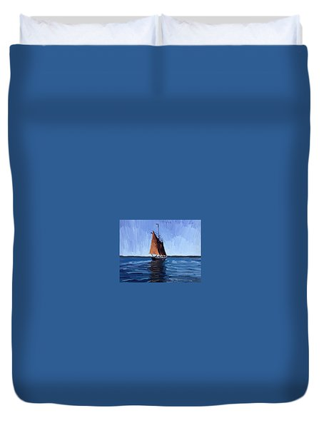 Schooner Roseway In Gloucester Harbor Duvet Cover by Melissa Abbott