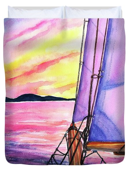 Sailboat Sunset Cruise On Schooner Surprise  Duvet Cover