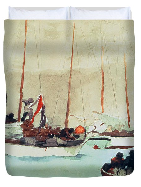 Schooners At Anchor In Key West Duvet Cover by Winslow Homer