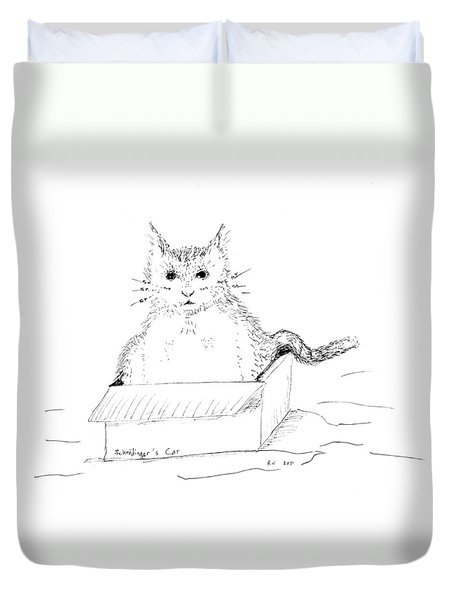 Schrodinger Cat Duvet Cover by Regina Valluzzi