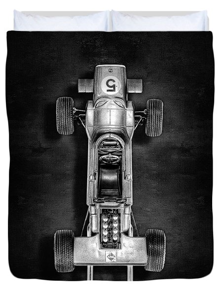 Duvet Cover featuring the photograph Schuco Matra Ford Top Bw by YoPedro