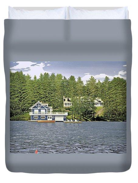 Duvet Cover featuring the painting Schultz Summer Home Muskoka by Kenneth M Kirsch