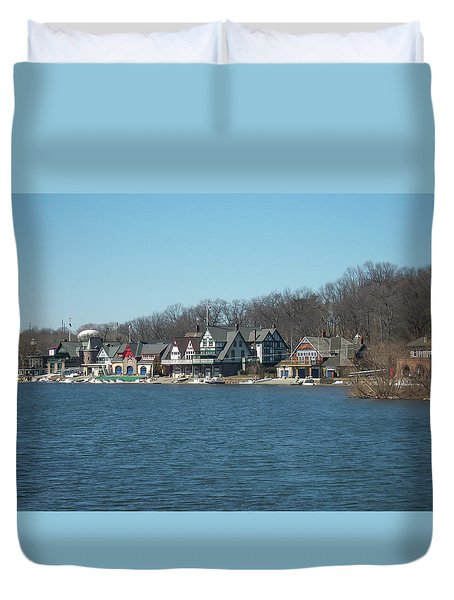 Duvet Cover featuring the photograph Schuylkill River - Boathouse Row In Philadelphia by Bill Cannon
