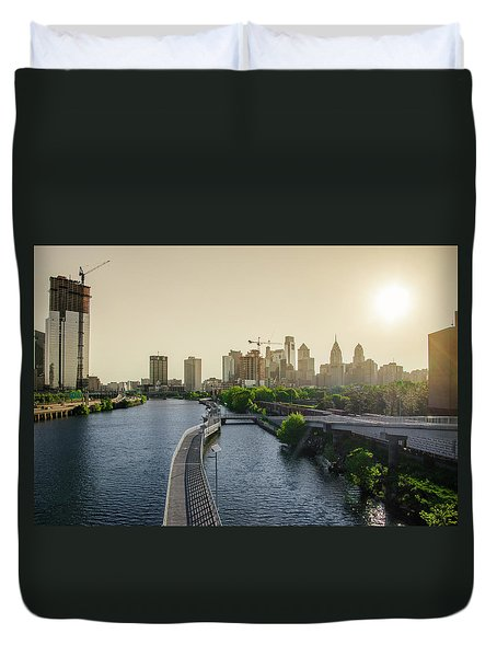 Duvet Cover featuring the photograph Schuylkill River Walk At Sunrise by Bill Cannon