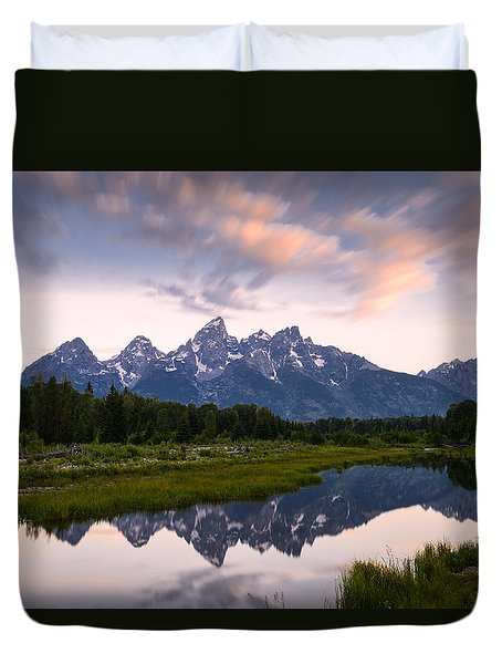 Duvet Cover featuring the photograph Schwabacher Landing In 60 Seconds by Dan Mihai