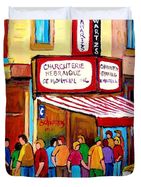 Schwartzs Hebrew Deli Montreal Streetscene Duvet Cover by Carole Spandau