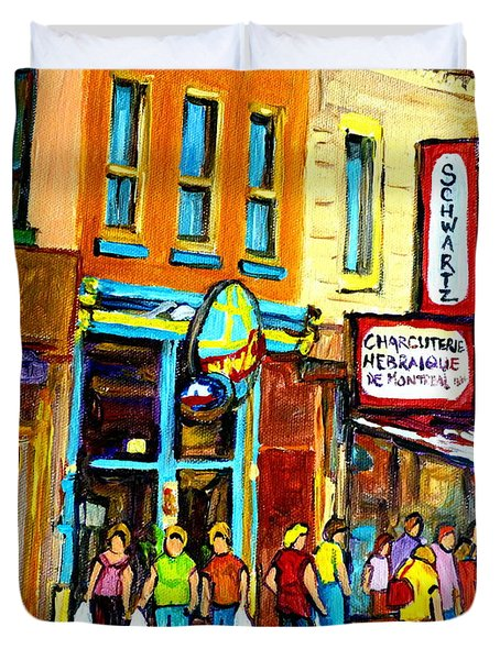 Schwartz's Hebrew Deli On St. Laurent In Montreal Duvet Cover by Carole Spandau