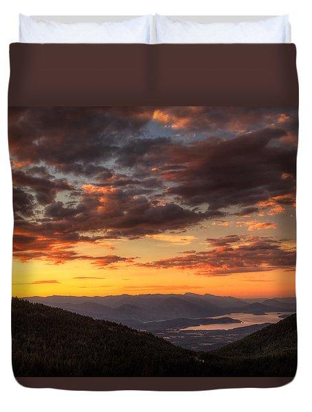 Schweitzer Mountain Sunrise Duvet Cover