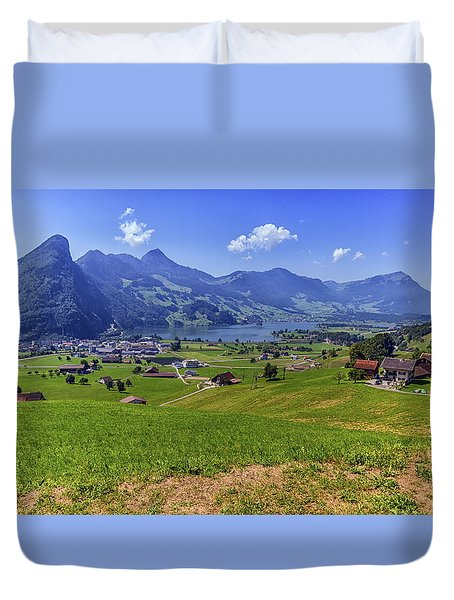 Schwyz And Zurich Canton View, Switzerland Duvet Cover