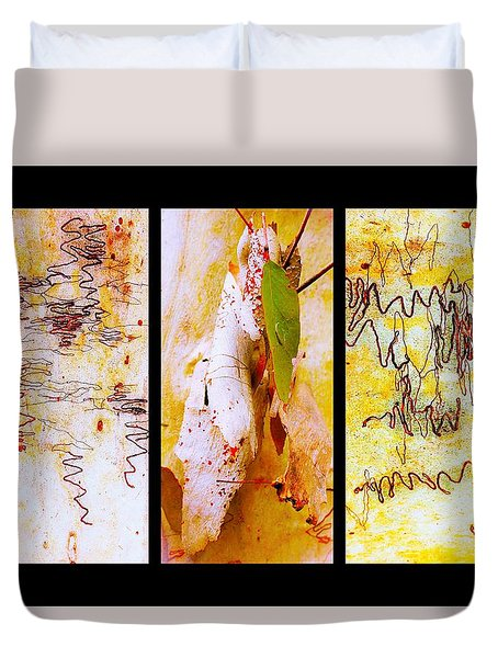 Scibbly Gum Tree Bark Triptych Duvet Cover