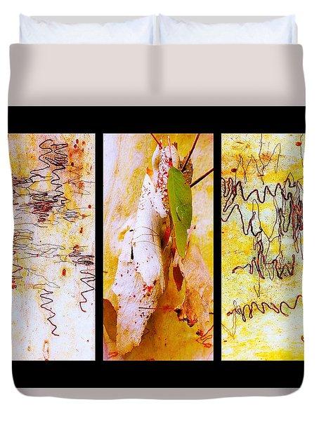 Scibbly Gum Tree Bark Triptych Duvet Cover
