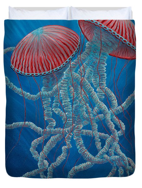 Scifi Jellies Duvet Cover by Rebecca Parker