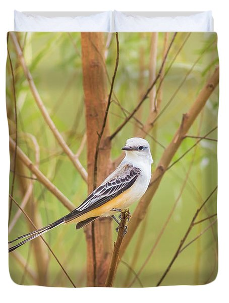 Duvet Cover featuring the photograph Scissortail In Scrub by Robert Frederick
