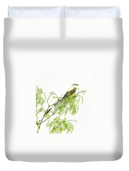 Duvet Cover featuring the photograph Scissortail On Mesquite by Robert Frederick