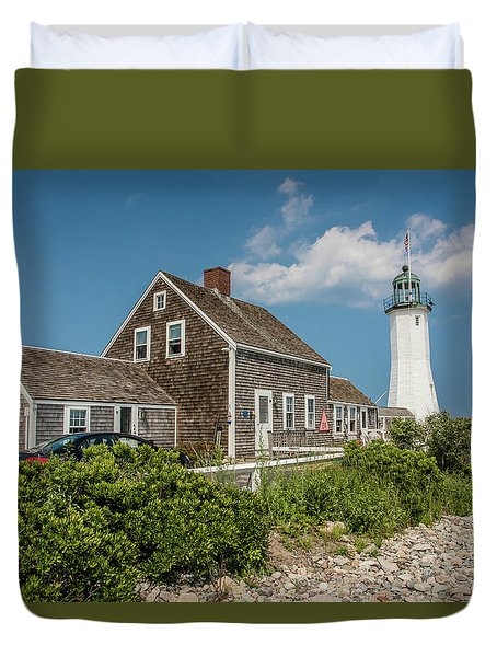 Duvet Cover featuring the photograph Scituate Lighthouse In Scituate, Ma by Peter Ciro