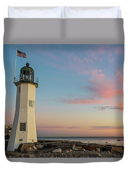 Scituate Lighthouse Scituate Massachusetts South Shore At Sunrise Duvet Cover