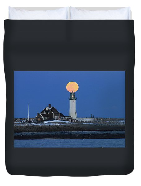 Scituate Lighthouse Snow Moon Duvet Cover by John Burk