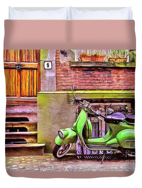 Duvet Cover featuring the painting Scooter Parking Only by Edward Fielding