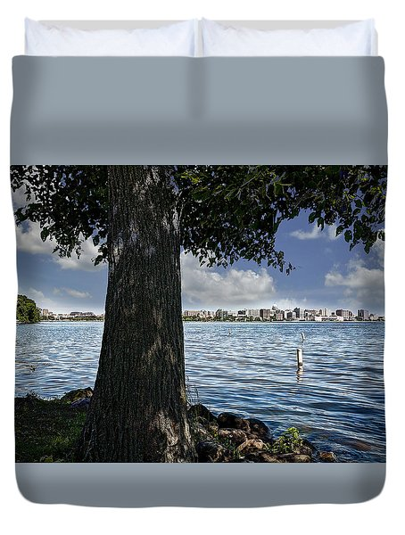 Duvet Cover featuring the photograph Scope Of Madison by Deborah Klubertanz