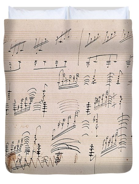 Score Sheet Of Moonlight Sonata Duvet Cover by Ludwig van Beethoven