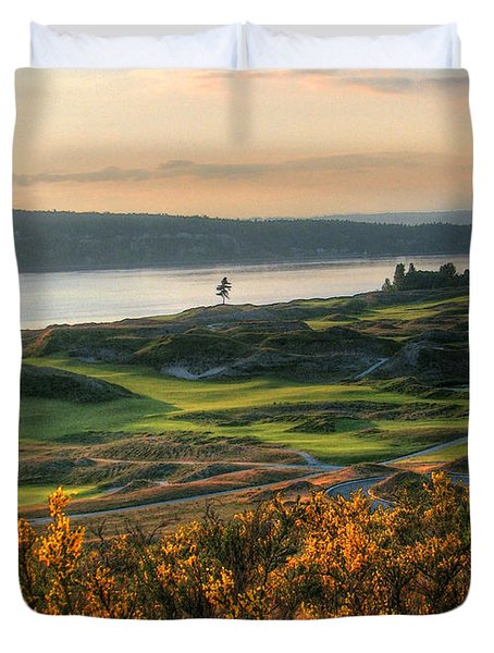 Scotch Broom -chambers Bay Golf Course Duvet Cover by Chris Anderson