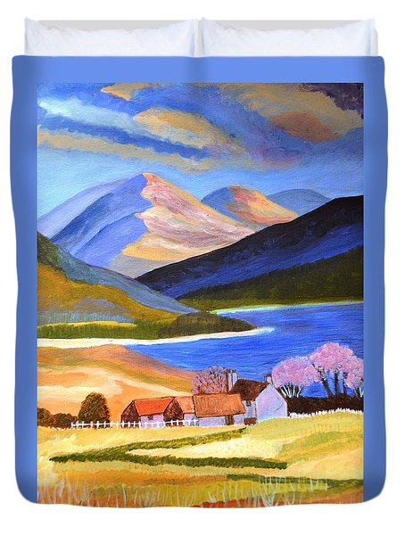 Duvet Cover featuring the painting Scottish Highlands 2 by Magdalena Frohnsdorff
