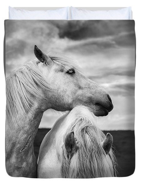 Scottish Horses Duvet Cover by Diane Diederich