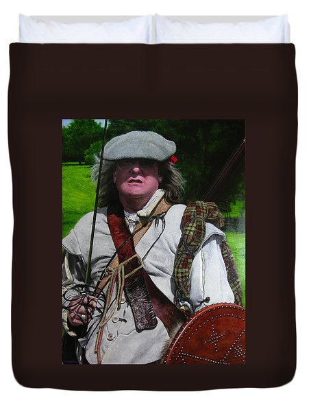 Duvet Cover featuring the painting Scottish Soldier Of The Sealed Knot At The Ruthin Seige Re-enactment by Harry Robertson