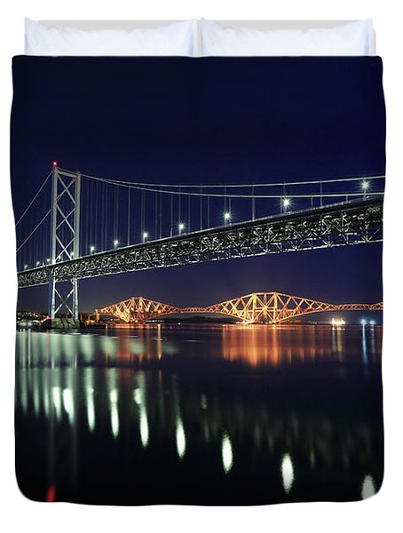 Scottish Steel In Silver And Gold Lights Across The Firth Of Forth At Night Duvet Cover