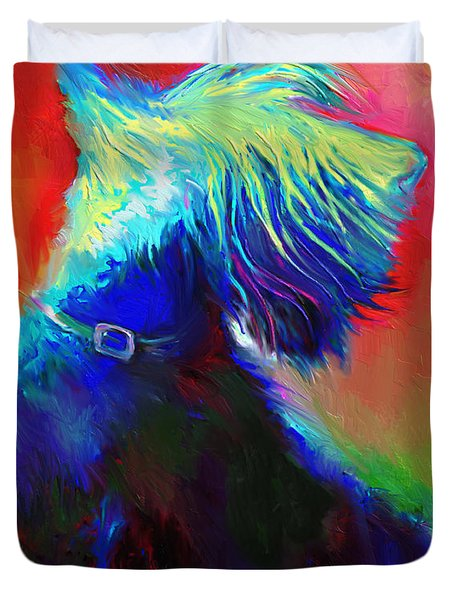 Scottish Terrier Dog Painting Duvet Cover