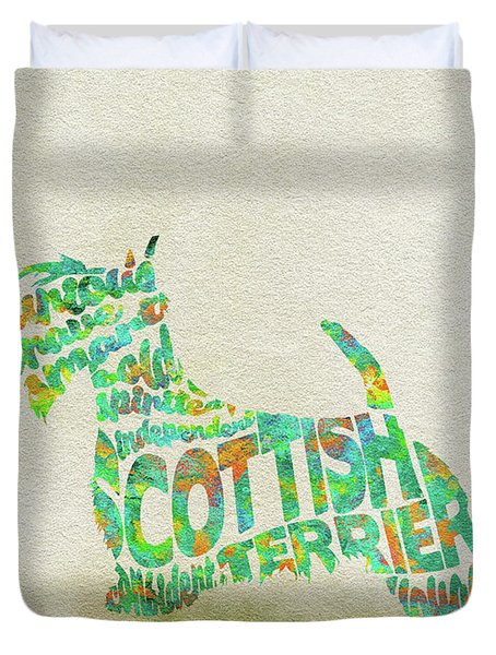 Duvet Cover featuring the painting Scottish Terrier Dog Watercolor Painting / Typographic Art by Inspirowl Design