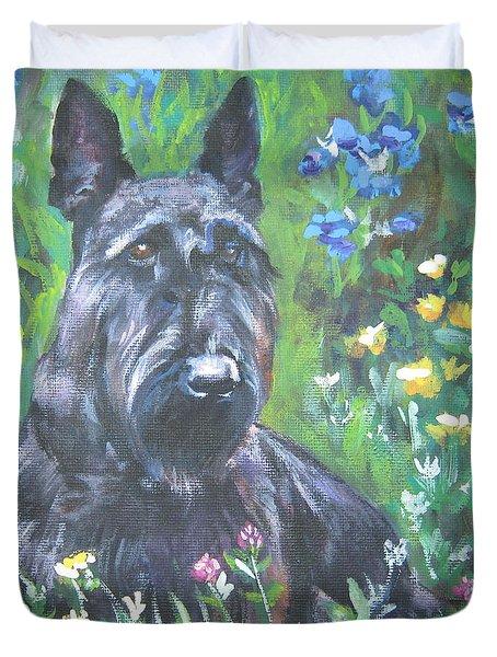 Scottish Terrier In The Garden Duvet Cover by Lee Ann Shepard