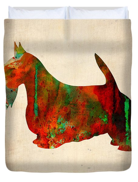 Scottish Terrier Watercolor 2 Duvet Cover by Naxart Studio