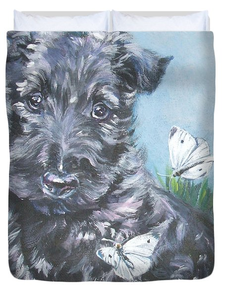 Scottish Terrier With Butterflies Duvet Cover by Lee Ann Shepard