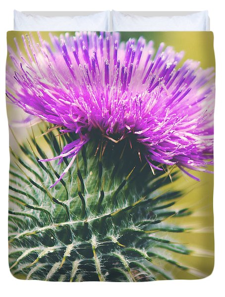 Duvet Cover featuring the photograph Scottish Thistle by Ray Devlin
