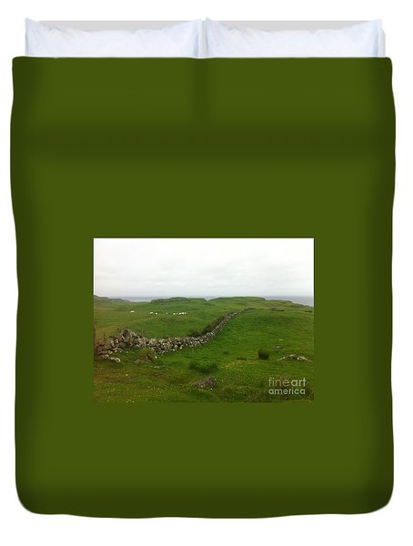 Duvet Cover featuring the photograph Scottish Wall by Mary K Conaboy