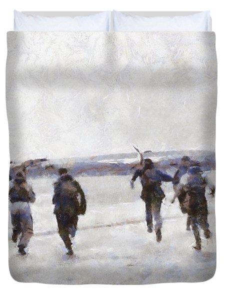 Scramble The Battle Of Britain 1940 Pilots Seen Running To Their Aircraft. Duvet Cover