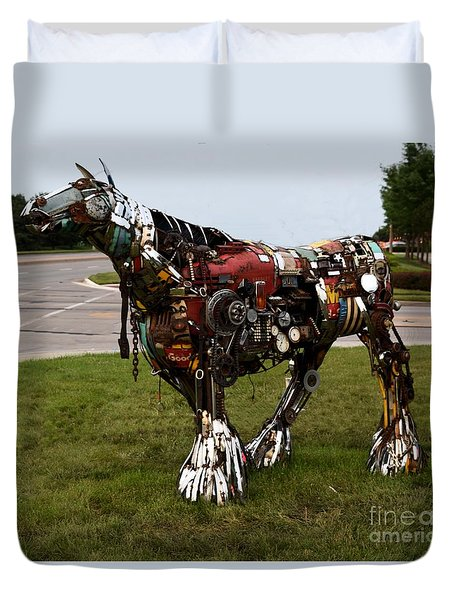 Duvet Cover featuring the photograph Scrap Horse by Mark McReynolds