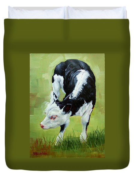 Duvet Cover featuring the painting Scratching Calf by Margaret Stockdale