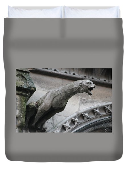 Duvet Cover featuring the photograph Screaming Griffon Notre Dame Paris by Christopher Kirby