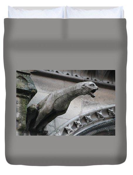 Screaming Griffon Notre Dame Paris Duvet Cover