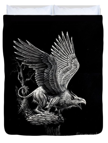 Screaming Griffon Duvet Cover by Stanley Morrison