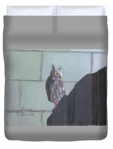 Screech Owl On Gate To Pergola Duvet Cover