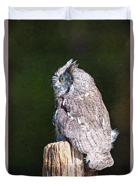 Screech Owl Profile Duvet Cover
